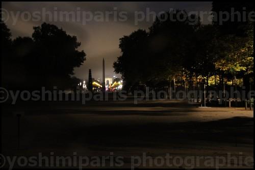 Lever de soleil Jardin des Tuileries vue sur l'obélisque de la concorde et les Champs Elysées